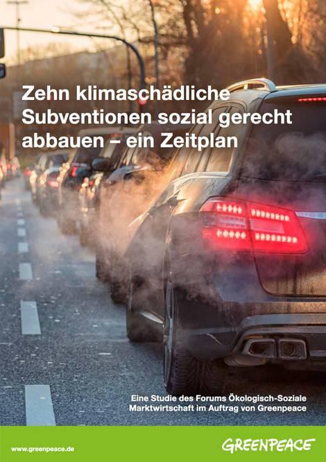 Titel der Greenpeace-Studie zum Subventionsabba