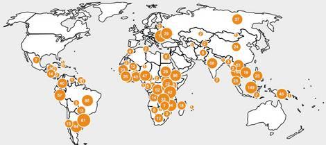 Karte von Zielländern für Investitionen in Landwirtschaftliche Flächen