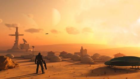 Science Fiction Bild eines Menschen im Raumanzug auf einem gelben Planeten mit futuristisch aussehenden Bauten.