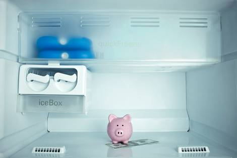 Blick auf ein Sparschwein im Kühlschrank