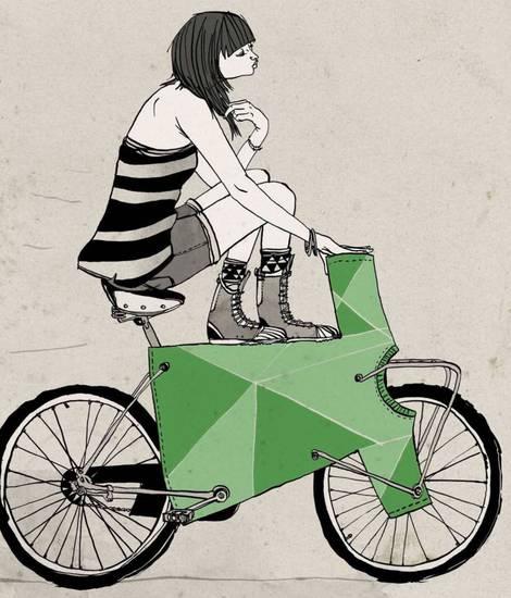Grafik einer Frau mit einem T-Shirt als Fahrrad