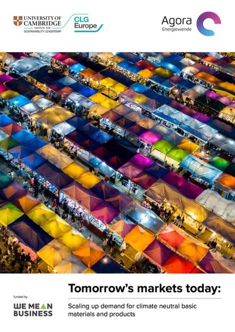 Titelbild der Agora-Studie zur klimafreundlichen Produktion energieintensiver Produkte und Anregung der Märkte