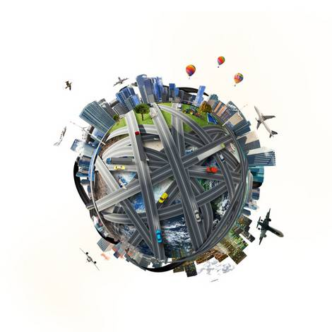 Modell eines Globus mit Handelswegen
