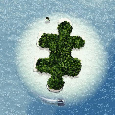 Insel von oben mit dem Umriss eines Puzzle-Teils