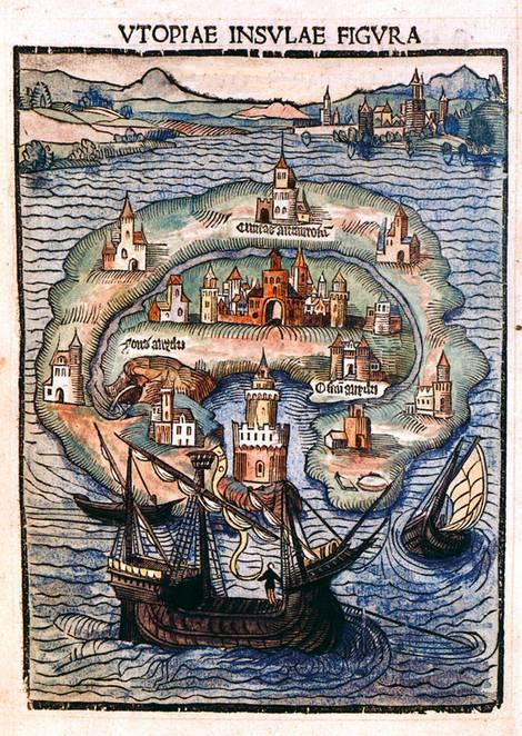 Historisches Titelbild des Romans Utopia von Thomas Morus