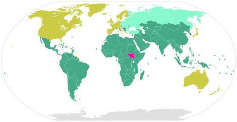 Karte der Mitglieder der UN-Klimarahmenkonvention UNFCCC
