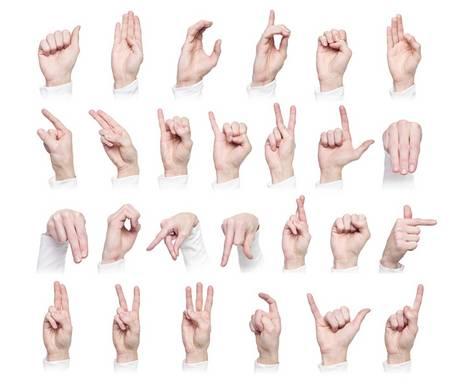 Hände formen die Zeichen der Zeichensprache für Taubstumme