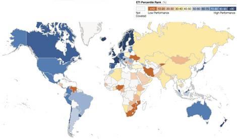 Weltkarte des Energiewende Index