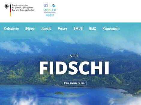 Screenshot der Website der COP23.de