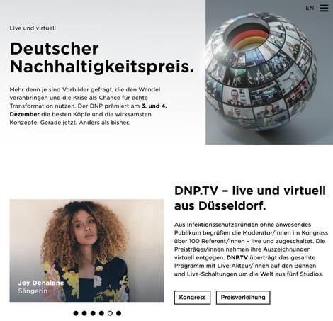 Screenshot der Website des Deutschen Nachhaltigkeitspreises