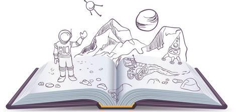 Aufgeschlagenes Buch, aus dem die Buchstaben springen