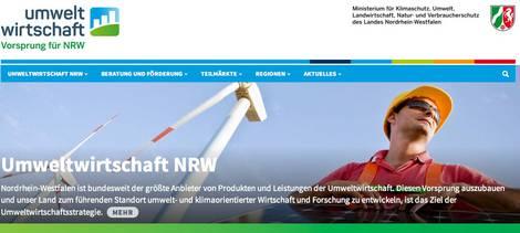 Screenshot der Webseite umweltwirtschaft.nrw.de