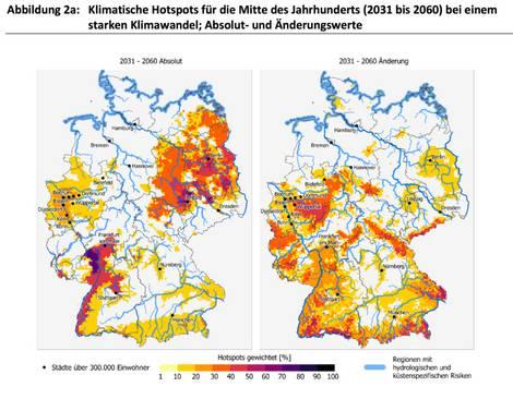 Deutschlandkarte mit den klimatischen Hotspots ab 2031 bis 2060